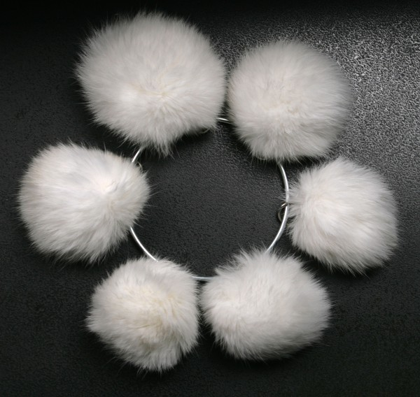 Rabbit fur pom poms in white