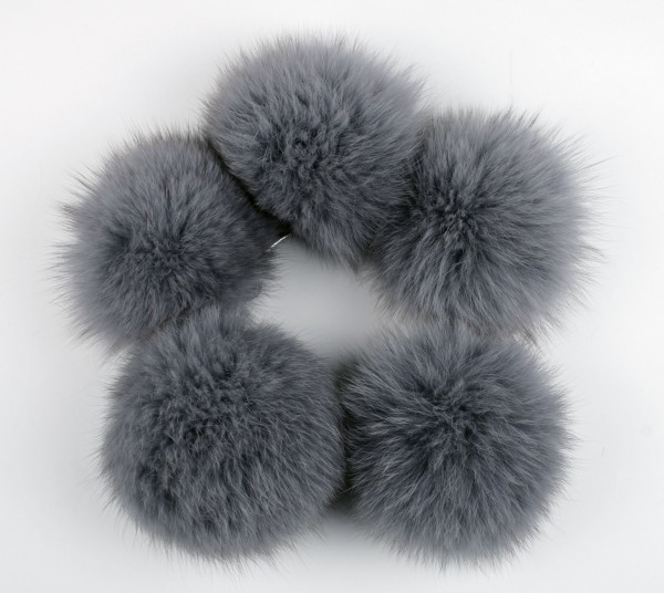 Blue Fox Fur Pom Pom in grey/blue