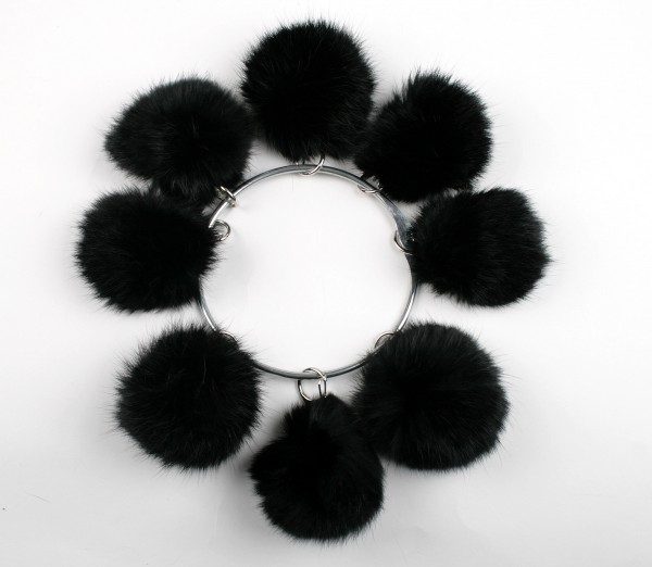 Black rabbit pom poms