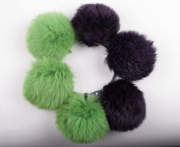 Coloured rabbit fur pom poms