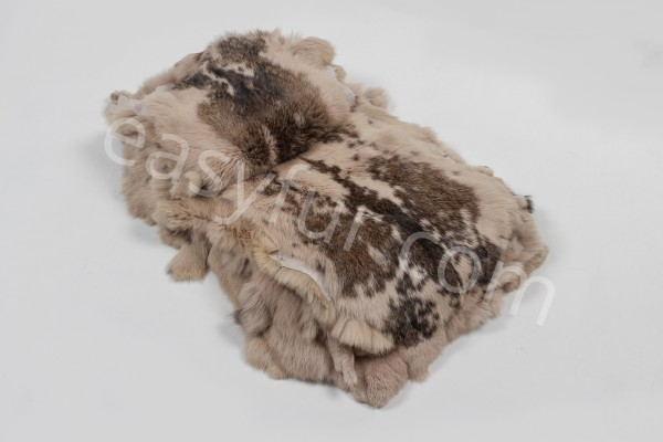 Rabbit Fur Skins in beige with dark flecks