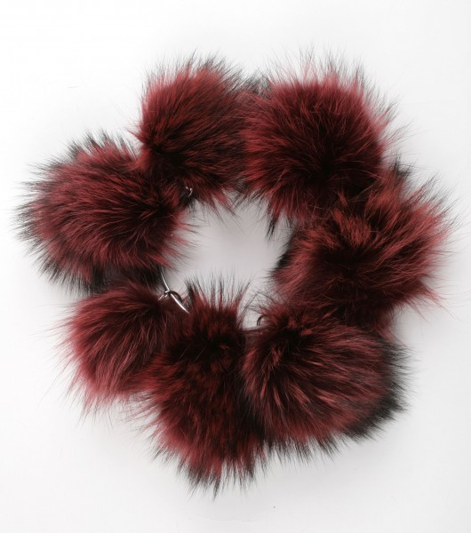 Raccoon fur pom pom in bordeaux/red