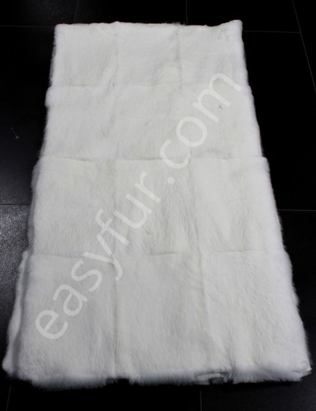 Rabbit Fur Plate in pure White (Sheared)