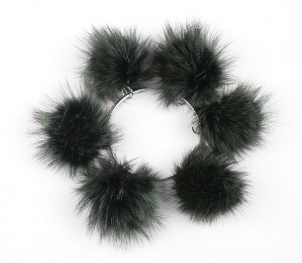 Raccoon fur pom poms in dark green