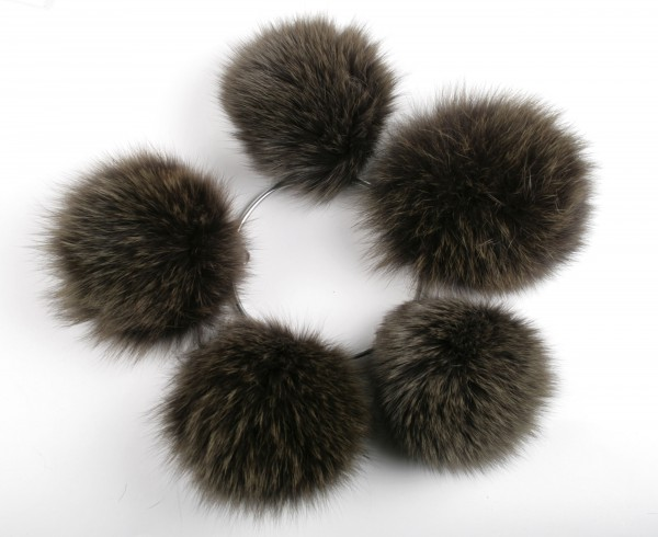Blue fox fur pom pom in olive-green