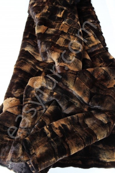 Sheared Mink Fur Plate in Brown