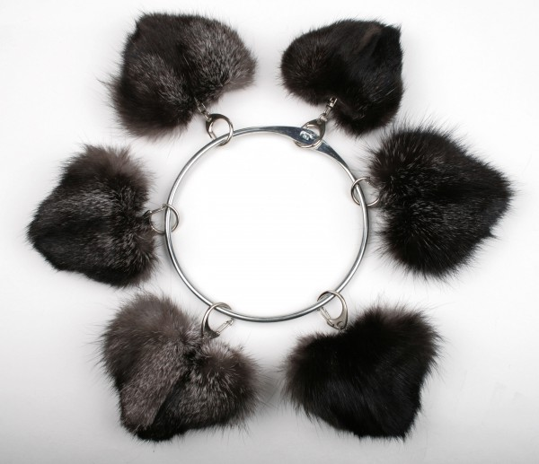 Silver fox fur heart pendants