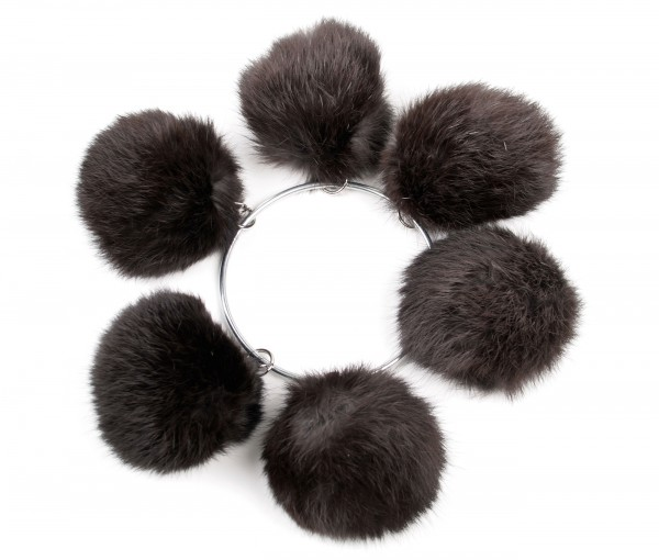 Rabbit fur pom poms in alaska dark brown