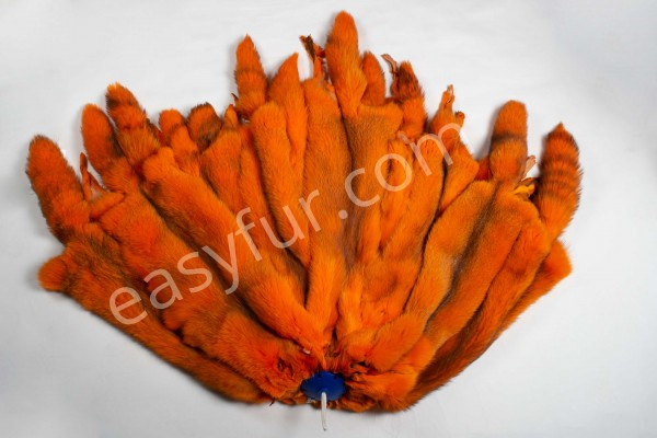 Colored European Red Fox Skins - Orange